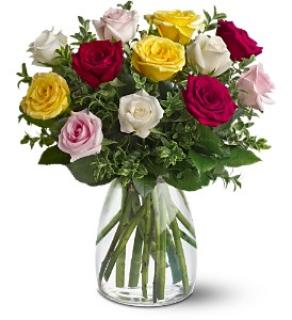 Dozen Mixed Roses Vased